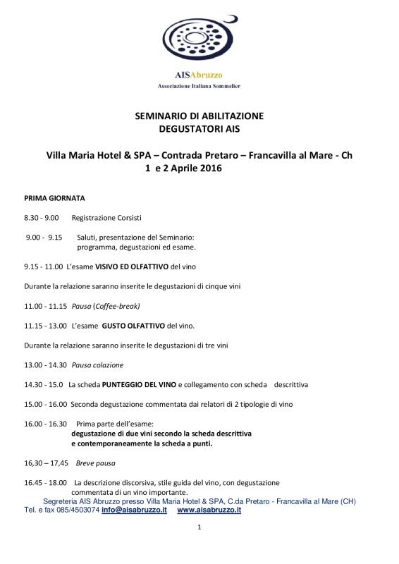 PROGRAMMA  1-SITO- SEMINARIO DEGUSTATORE AIS 2016