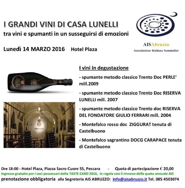 I GRANDI VINI DI CASA LUNELLI 14.03.16