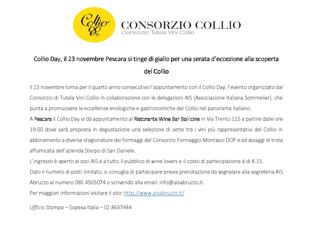 Abruzzo - Collio Day, il 23 novembre Pescara si tinge di giallo