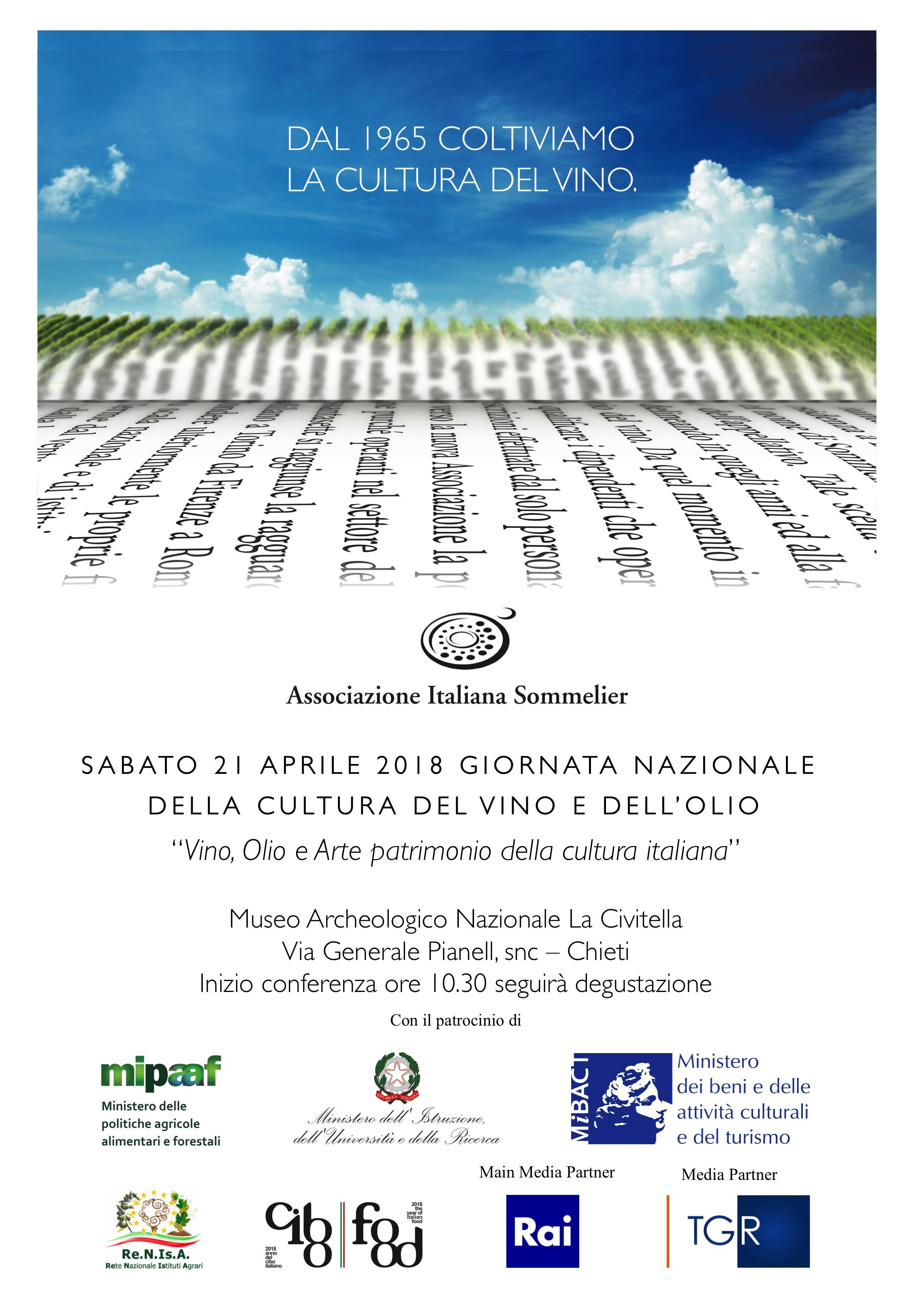 Sabato 21 aprile 2018 – Giornata Nazionale della cultura del vino e dell'olio