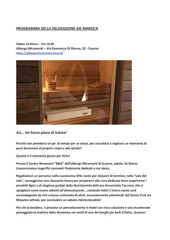 PROGRAMMA DELLA DELEGAZIONE AIS MARSICA 01 - 04 20191