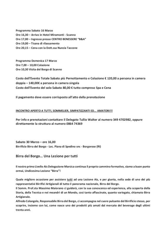 PROGRAMMA DELLA DELEGAZIONE AIS MARSICA 01 - 04 20192