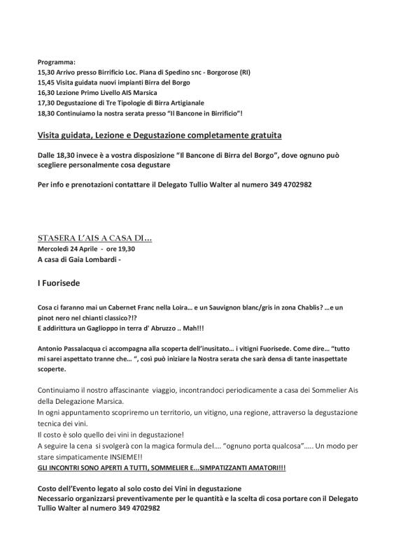 PROGRAMMA DELLA DELEGAZIONE AIS MARSICA 01 - 04 20193